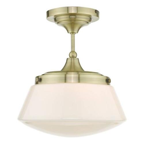 Dar Lighting Caden Antique Brass with Opal Glass IP44 Bathroom Ceiling Light