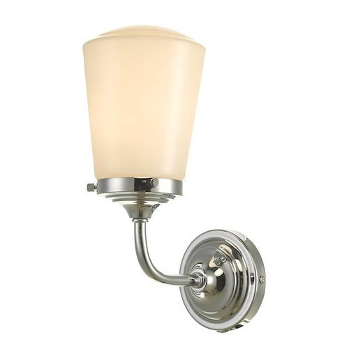 Dar Lighting Caden Polished Chrome with Opal Glass IP44 Bathroom Wall Light