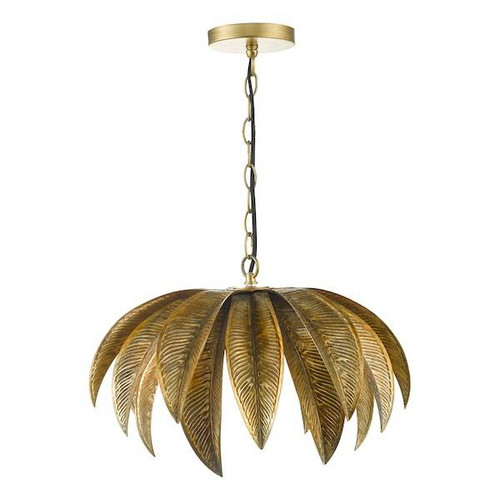 Dar Lighting Cara 1 Light Antique Gold Pendant Light