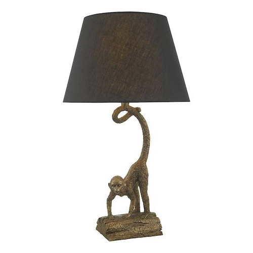 Dar Lighting Dwayne Bronze Monkey with Black Linen Shade Table Lamp