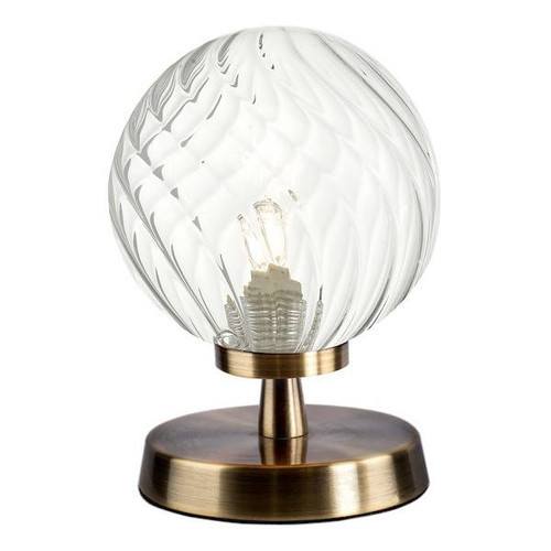 Dar Lighting Esben Antique Brass with Twisted Glass Touch Table Lamp