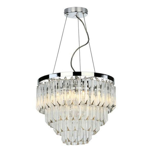 Dar Lighting Fame 5 Light Polished Chrome with Crystal Glass Chandelier