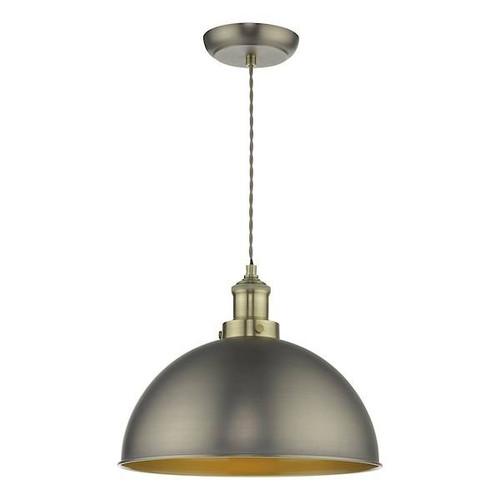Dar Lighting Governor Antique Chrome with Antique Brass Pendant Light