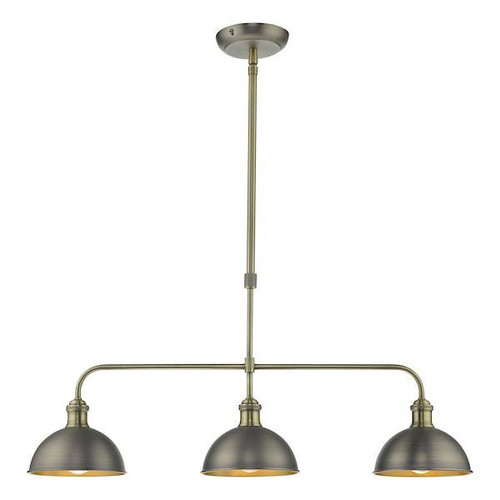 Dar Lighting Governor 3 Light Antique Chrome with Antique Brass Bar Pendant Light