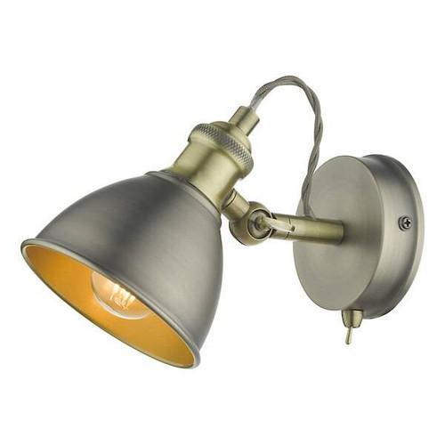 Dar Lighting Governor Antique Chrome with Antique Brass Spotlight