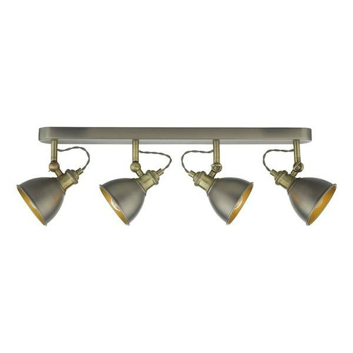 Dar Lighting Governor 4 Light Antique Chrome with Antique Brass Spotlight