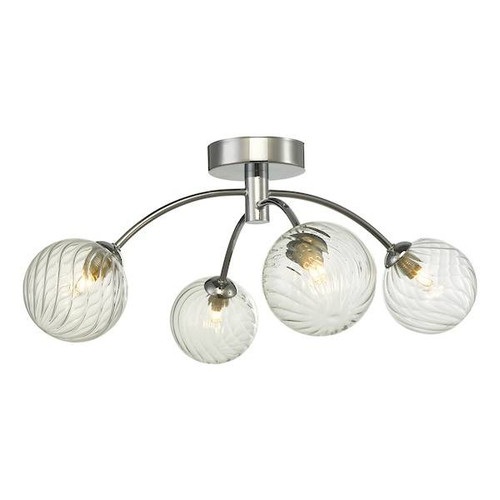 Dar Lighting Izzy 4 Light Polished Chrome with Twisted Glass Semi Flush Ceiling Light