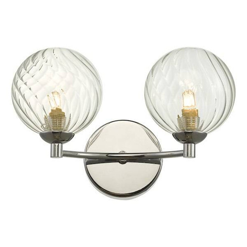 Dar Lighting Izzy 2 Light Polished Chrome with Twisted Glass Wall Light