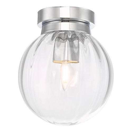Dar Lighting Kavi Polished Chrome and Waterfall Glass IP44 Bathroom Ceiling Light