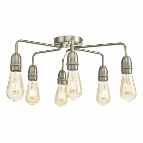 Dar Lighting Kiefer 6 Light Satin Chrome Semi Flush Ceiling Light