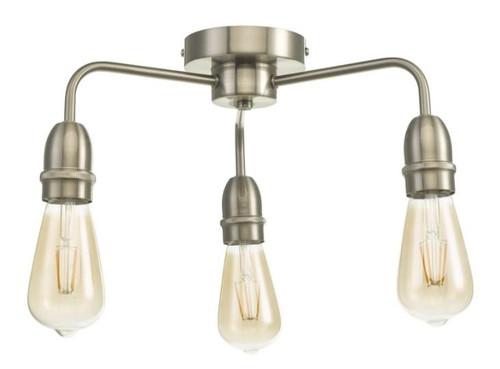 Dar Lighting Kiefer 3 Light Satin Chrome Semi Flush Ceiling Light