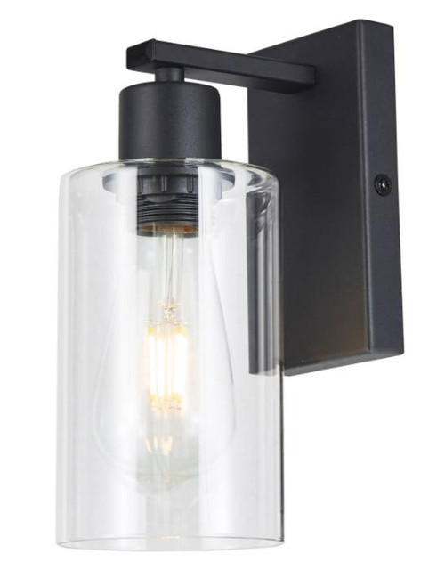 Dar Lighting Miu Matt Black and Clear Glass Wall Light