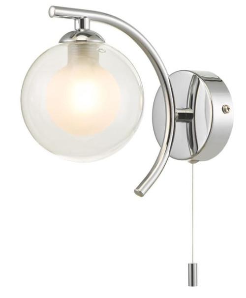 Dar Lighting Nakita Polished Chrome with Opal and Clear Glass Wall Light