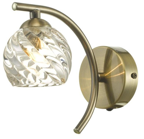 Dar Lighting Nakita Antique Brass with Twisted Open Glass Wall Light