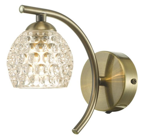 Dar Lighting Nakita Antique Brass with Dimpled Glass Wall Light