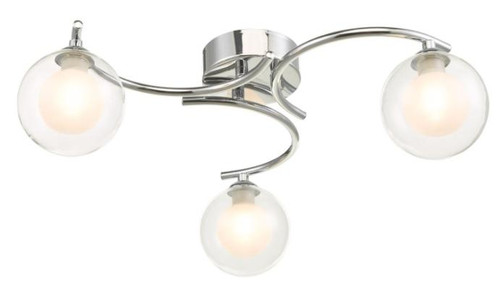 Dar Lighting Nakita Polished Chrome with Opal and Clear Glass Semi Flush Ceiling Light