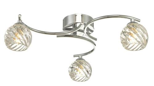 Dar Lighting Nakita 3 Light Polished Chrome with Twisted Open Glass Semi Flush Ceiling Light