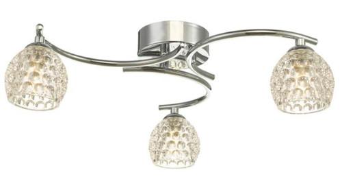 Dar Lighting Nakita 3 Light Polished Chrome with Dimpled Glass Semi Flush Ceiling Light