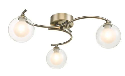 Dar Lighting Nakita 3 Light Antique Brass with Clear and Opal Glass Semi Flush Ceiling Light