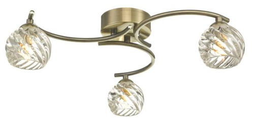 Dar Lighting Nakita 3 Light Antique Brass with Twisted Open Glass Semi Flush Ceiling Light