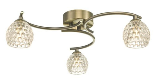 Dar Lighting Nakita 3 Light Antique Brass with Dimpled Glass Semi Flush Ceiling Light