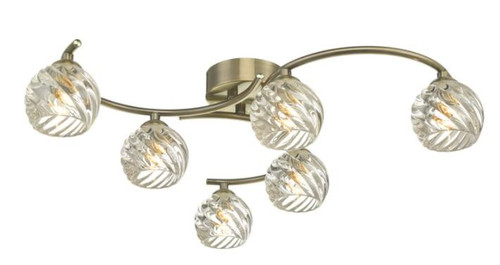 Dar Lighting Nakita 6 Light Antique Brass with Twisted Open Glass Semi Flush Ceiling Light