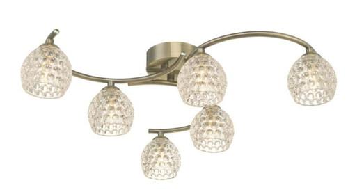 Dar Lighting Nakita 6 Light Antique Brass with Dimpled Glass Semi Flush Ceiling Light