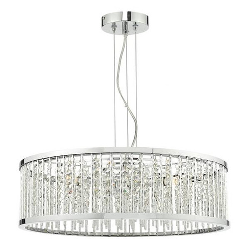 Dar Lighting Nantes 5 Light Polished Chrome with Acrylic Beads Pendant Light