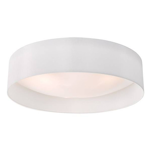 Dar Lighting Nysa 3 Light White Faux Silk Flush 60cm Ceiling Light