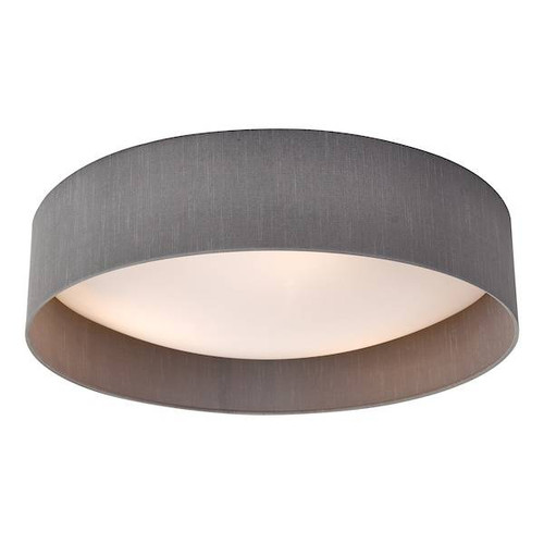 Dar Lighting Nysa 3 Light Grey Faux Silk Flush 60cm Ceiling Light