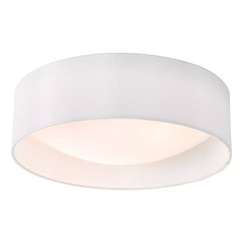 Dar Lighting Nysa 2 Light White Faux Silk 40cm Flush Ceiling Light