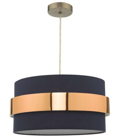 Dar Lighting Oki Navy Blue with Copper Band Easy Fit Pendant