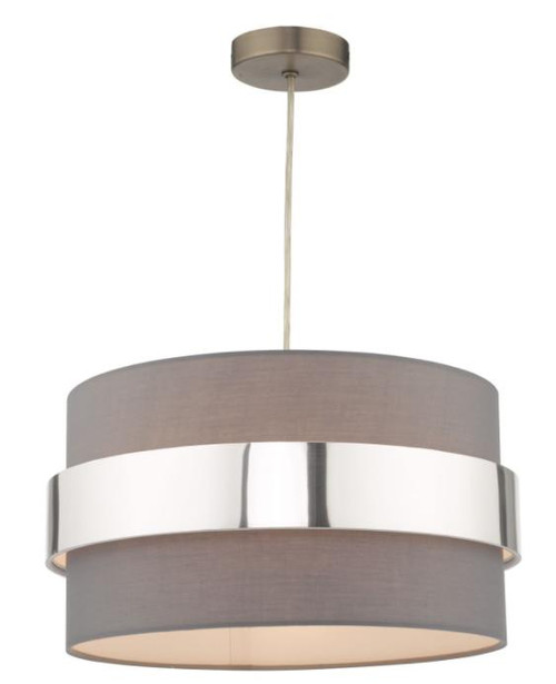 Dar Lighting Oki Grey Shade with Chrome Band Easy Fit Pendant