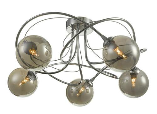 Dar Lighting Onawa 5 Light Polished Chrome with Smoked Glass Semi Flush Pendant Light