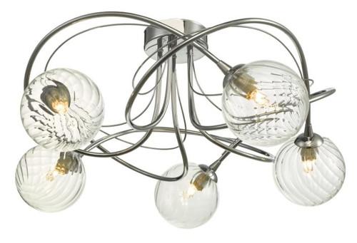Dar Lighting Onawa 5 Light Polished Chrome with Twisted Clsoed Glass Semi Flush Ceiling Light