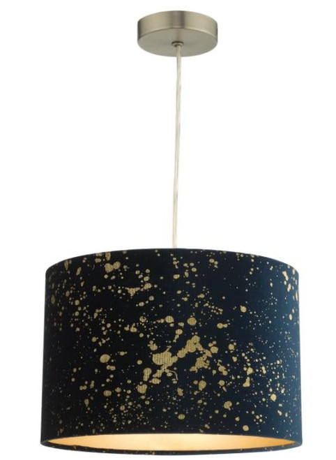 Dar Lighting Oxi Navy Blue with Gold Sparkle Easy Fit Pendant Light