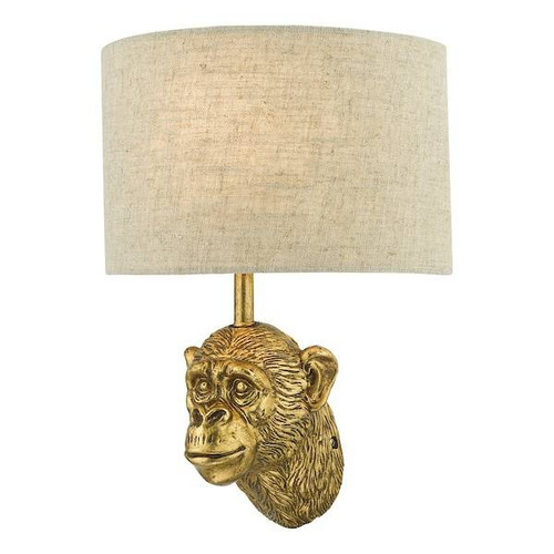 Dar Lighting Raul Gold with Natural Linen Shade Monkey Wall Light