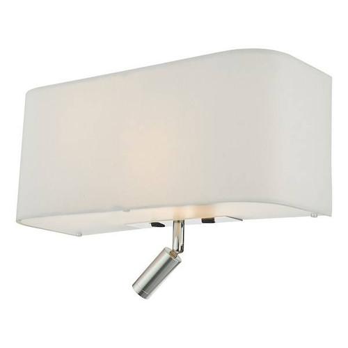 Dar Lighting Ronda 3 Light Ivory Faux Silk Shade with LED Reading Light Wall Light
