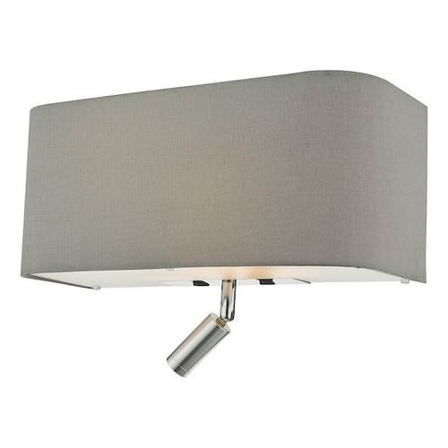 Dar Lighting Ronda 3 Light Grey Faux Silk Shade with LED Reading Light Wall Light