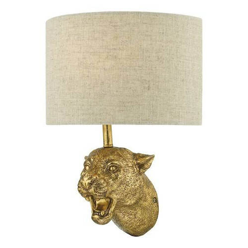 Dar Lighting Ruri Gold with Natural Linen Shade Leopard Wall Light