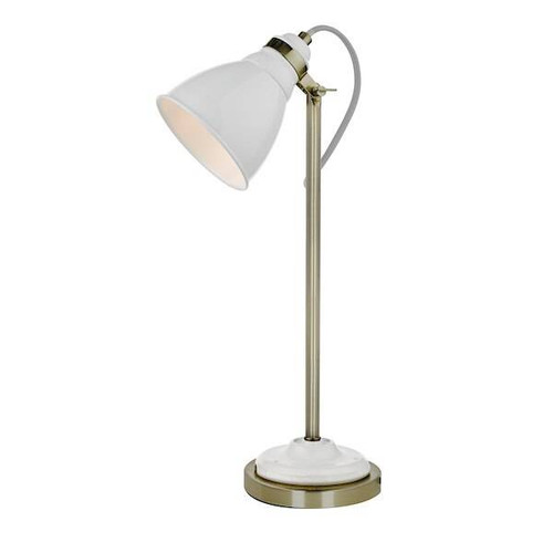 Dar Lighting Sika White with Antique Brass Task Table Lamp