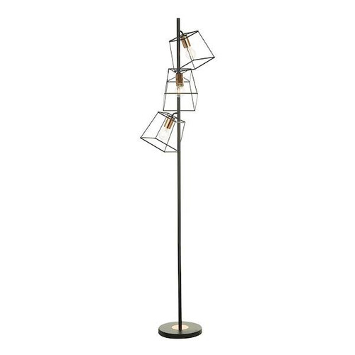 Dar Lighting Tower 3 Light Matt Black and Copper Floor Lamp