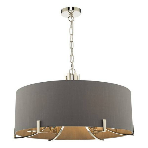 Dar Lighting Veyron 6 Light Polished Nickel with Grey Faux Silk Shade Pendant Light