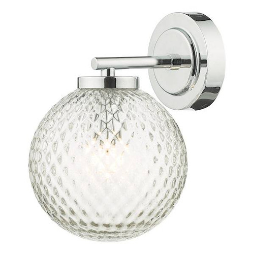 Dar Lighting Wayne Polished Chrome and Glass IP44 Bathroom Wall Light