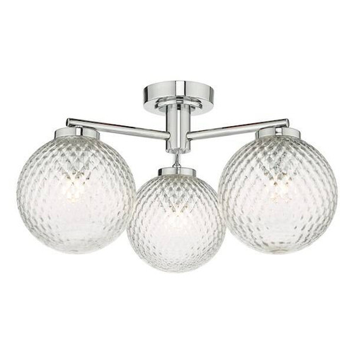 Dar Lighting Wayne 3 Light Polished Chrome with Glass IP44 Bathroom Semi Flush Ceiling Light