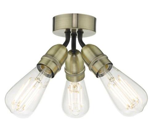 Dar Lighting Yao 3 Light Antique Brass Flush Ceiling Light