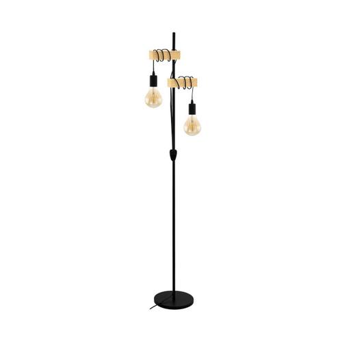 Eglo Lighting Townshend 2 Light Matt Black with Wood Floor Lamp