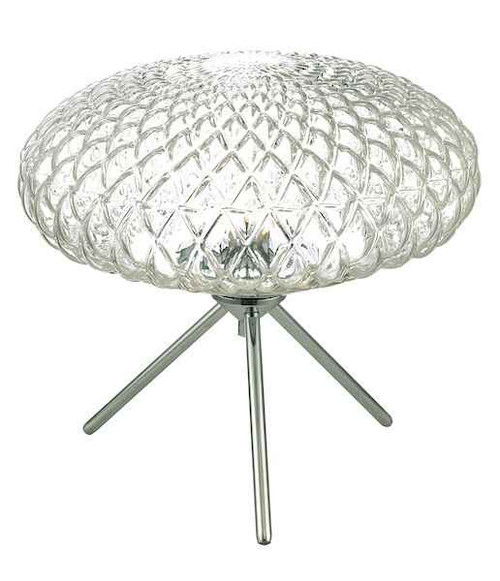 Bibiana Polished Chrome with Clear Glass Large Table Lamp