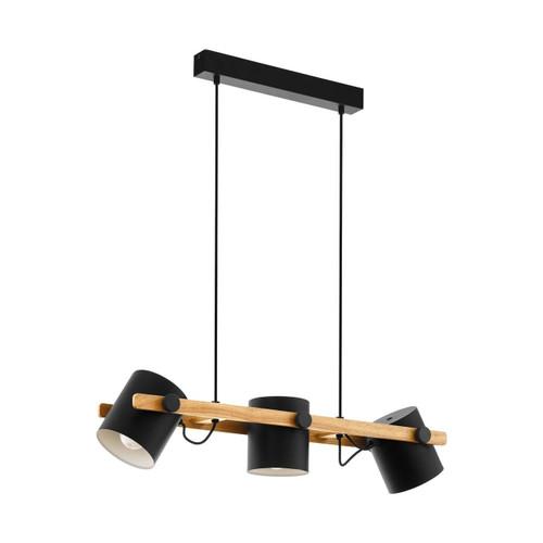 Eglo Lighting Hornwood 3 Light Black with Wood Bar Pendant Light