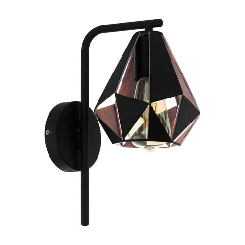 Eglo Lighting Carlton 4 Black with Copper Colour Antique Wall Light